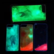 الأزياء قضية Noctilucent الرمال المتحركة الهاتف حقيبة لهاتف أي فون X XR XS ماكس 7 8 6 6S زائد الاتجاه مضيئة عودة الغطاء الواقي fundas Etui