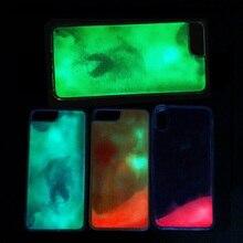 패션 noctilucent quicksand 전화 케이스 아이폰 x xr xs 맥스 7 8 6 6 s 플러스 트렌드 빛나는 다시 보호 커버 fundas etui