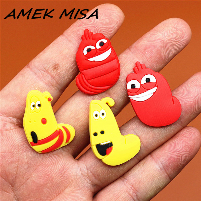 1pcs PVC Korean Cartoon Shoe Charms Accessories Funny Bugs Croc Shoe Buckles Decorations Ormaments Fit JIBZ Party Kid's Gifts