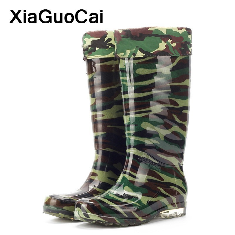 Waterproof Man Rainboots Camouflage Autumn Winter Warm Knee-High Male Boots PVC High Top Wading Shoes Velvet Outdoor Antiskid image