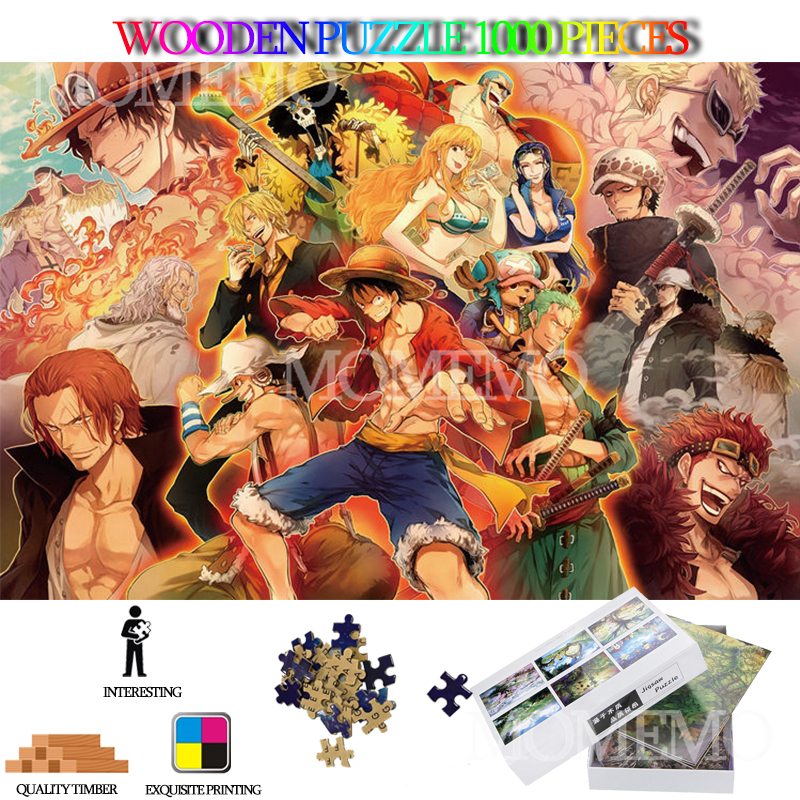ONE PIECE Cartoon Anime 1000 Pieces Wooden Jigsaw Puzzle For Adults High Definition DIY Assembly Wooden Puzzles Toys For Kids