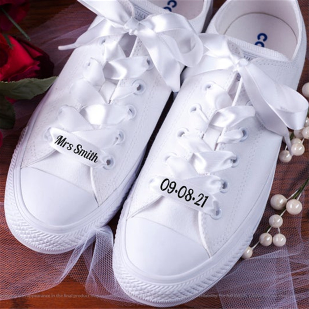 Bridal Custom Text Satin Ribbon 1 Pair Silk Satin Shoelaces 2CM Width Flat Ribbon Shoe laces Boots Sneakers Wedding Shoelaces