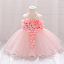 2021 Baby Girl Summer Lace Heart White Dresses Baby Girls Princess Dress Baptism Clothes Newborn Birthday Dress For Baby Girl