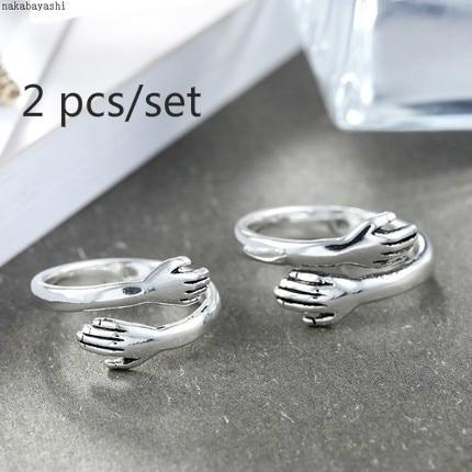 Комплект из 2 предметов, новые творческие любовь Hug пара Открытое кольцо Модные женские наручные часы открытые панковские кольцо ювелирные ...