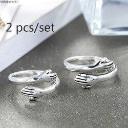 2 pçs novo amor criativo abraço casal aberto anel moda senhoras homens punk aberto anel jóias aniversário presentes especiais para os amantes