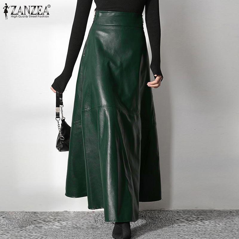 Юбка ZANZEA женская с завышенной талией, модная трапециевидная из экокожи, на молнии, Офисная Повседневная однотонная, большие размеры 5XL, весн...