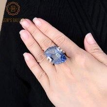 Edelstein der Ballett 5,21 Ct Unregelmäßigen Natürlichen Iolite Blau Mystic Quarz Edelstein Ringe frauen 925 Sterling Silber Cocktail Feine schmuck
