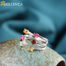 925 Sterling Silver Natural Color Gemstones Open Ring Tourmaline Rings Fine Jewelry for Women Classic Simple Trendy Gift Party