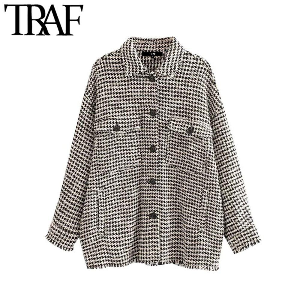 Женская твидовая клетчатая куртка TRAF, винтажная стильная куртка оверсайз с потертыми кисточками и длинными рукавами, верхняя одежда с карманами|Куртки|   | АлиЭкспресс