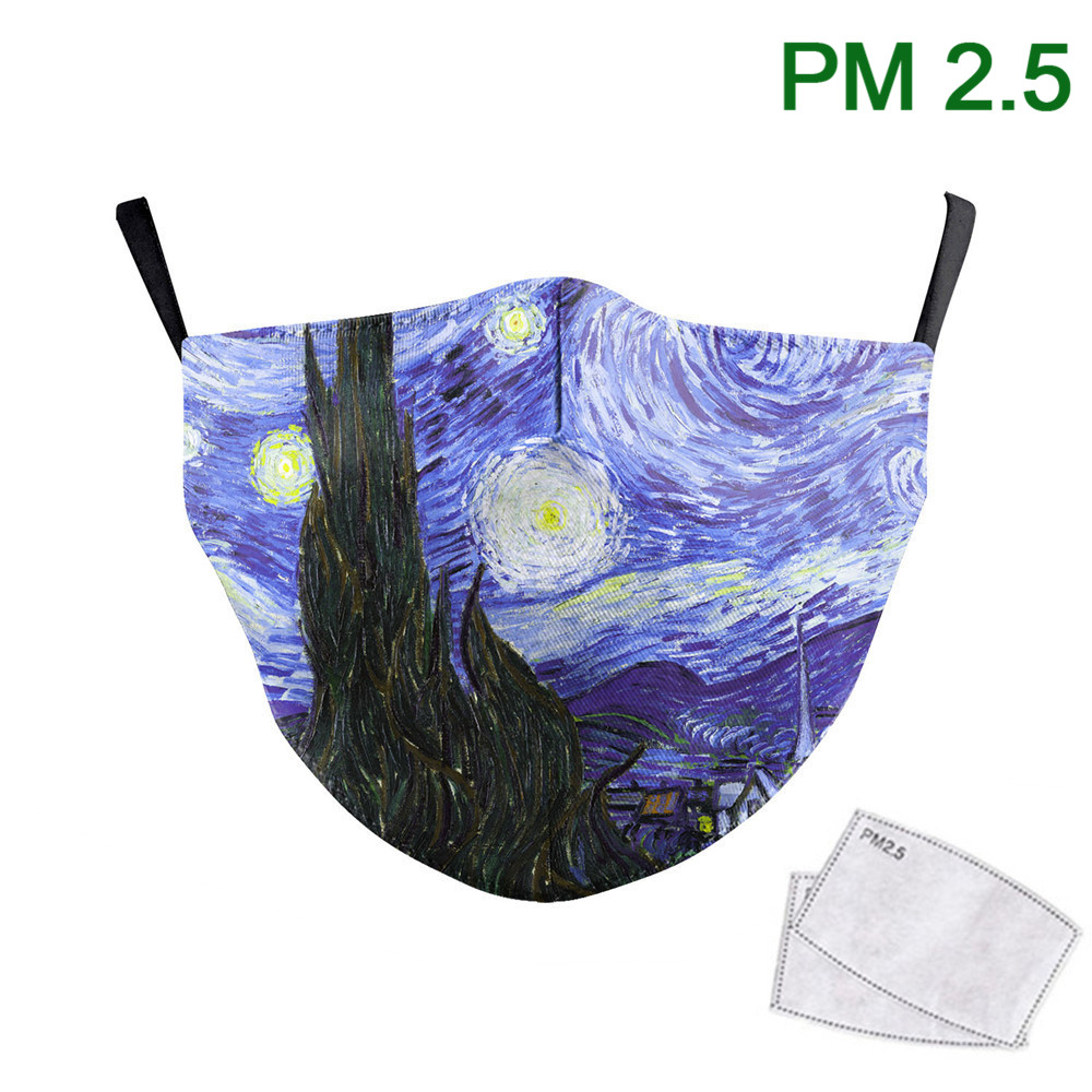The Starry Night Print Face Mask Van Gogh Oil Draw Mouth-Muffle Washable Fabric Masks Adult PM2.5 Protective Dust Masks Reusable