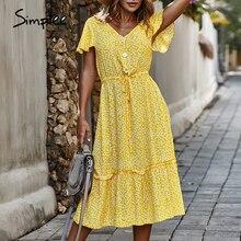 Simplee women casual plus size dress high waist bandage ruffle long dre