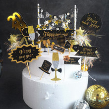 Black Gold Happy New Year Flag Cake Topper Dessert Table Dessert Dress Up Party Supplies Cake Topper for DIY Party Decoration G 3pcs golden feathers cake topper dessert decorators