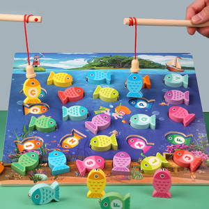 Montessori-Toys Puzzle Teaching-Aids Fishing-Game Preschool Early-Educational-Toys Wooden