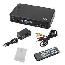 цена на Mini 1080P HD Multimedia Player 5V/2A High Quality HDMI Multimedia TV BOX 3 Outputs HDMI/VGA/AV USB SD Card EU US UK AU Plug