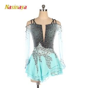 Image 1 - Nasinaya Figure Skating Dress Customized Competition Ice Skating Skirt for Girl Women Kids Gymnastics Performance Gray Gradient