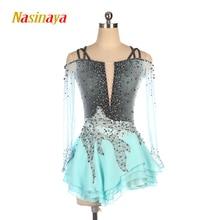 Nasinaya robe de patinage de figurine personnalisée, pour filles, femmes et enfants, Performance, jupe de patinage sur glace, dégradé gris