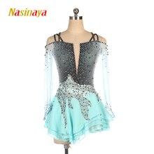 Nasinaya الشكل التزلج اللباس تخصيص المنافسة الجليد التزلج تنورة ل فتاة النساء الاطفال الجمباز الأداء رمادي التدرج
