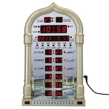 Fashion-12V Mosque Azan Calendar Muslim Prayer Wall Clock Alarm Ramadan Home Decor + Remote Control EU Plug