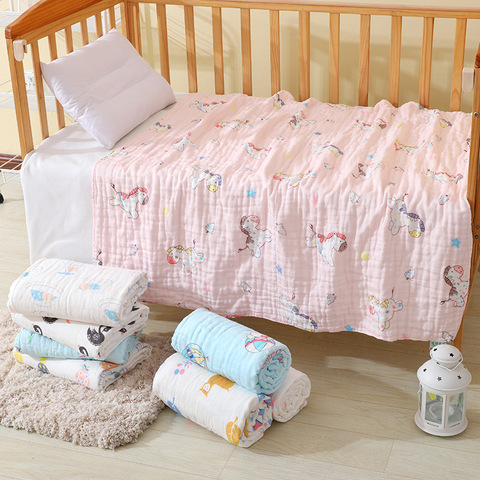 Muslin Swaddle Baby Blankets 100% Cotton Swaddle Wrap for Newborn Babies 6 Layer Bath Towel Blanket Baby Bedding blanket 110*110 Pakistan