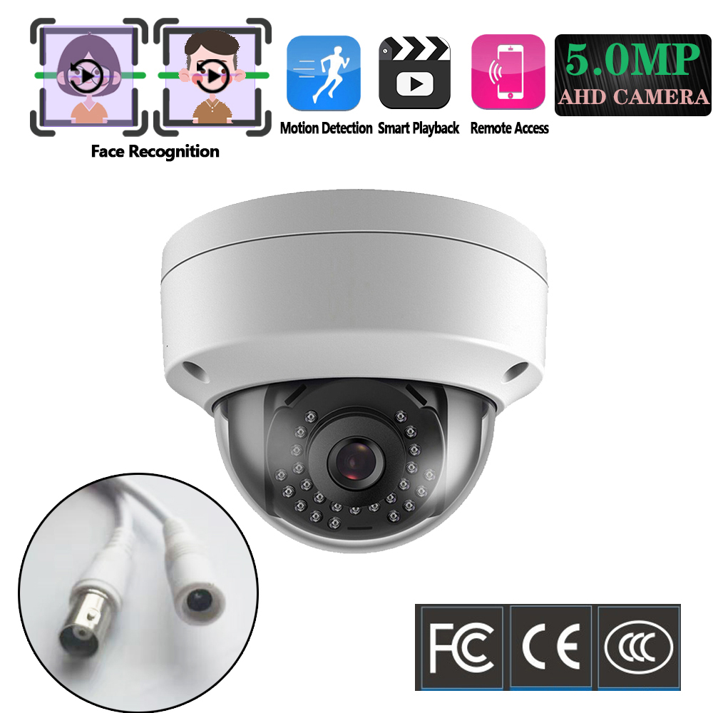 H.265 Surveillance CCTV Camera 5MP AHD Camera Motion&Face Detection IR Cut Night Vision Vandal-proof Dome BNC Security Camera