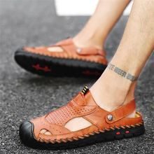 Men's sandals 2020 summer soft bottom slippers leather sandals large size outdoor men's shoes non-slip beach shoes couple shoes summer hollow mother sandals flat bottom hole large size shoes women with soft bottom peas shoes non slip in the elderly