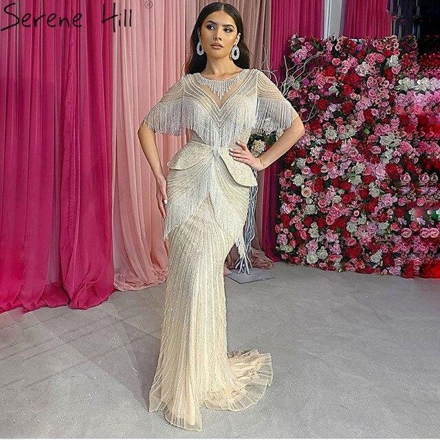 Prata tassel beading sereia sexy vestidos de noite 2020 meia mangas luxo sexy formal vestido foto real sereno colina dla70342