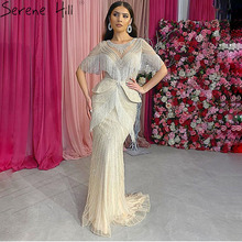 Silver Tassel Beading Mermaid Sexy Evening Dresses 2020 Half Sleeves Luxury Sexy Formal Dress Real Photo Serene Hill DLA70342