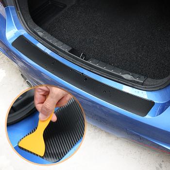 1 sztuk 90*8 8cm ochrona tylnego zderzaka naklejki z włókna węglowego dla VW Volkswagen Golf 7 MK7 MK6 MK5 POLO jetta tiguan akcesoria tanie i dobre opinie VCiiC Inne 3d carbon fiber vinyl 0inch 90cm cartoon Włókno węglowe Kreatywne naklejki Nie pakowane Carbon Fiber Car Rear Bumper Trunk Stickers