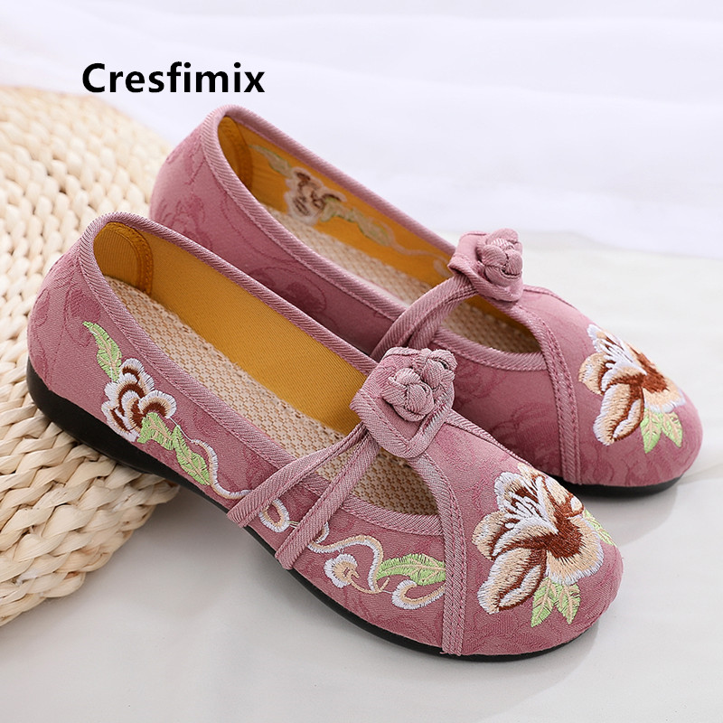 Cresfimix Women Fashion Light Weight Floral Embroidery Flat Shoes Lady Casual Retro Ballet Shoes Female Green Dance Flats C5510