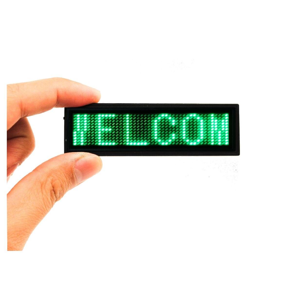 Светодиодный мини Цифровой Программируемый Прокрутка перезаряжаемое имя, сообщение, знак бейджа, перезаряжаемый светодиодный значок с именем, красный, синий, зеленый, белый