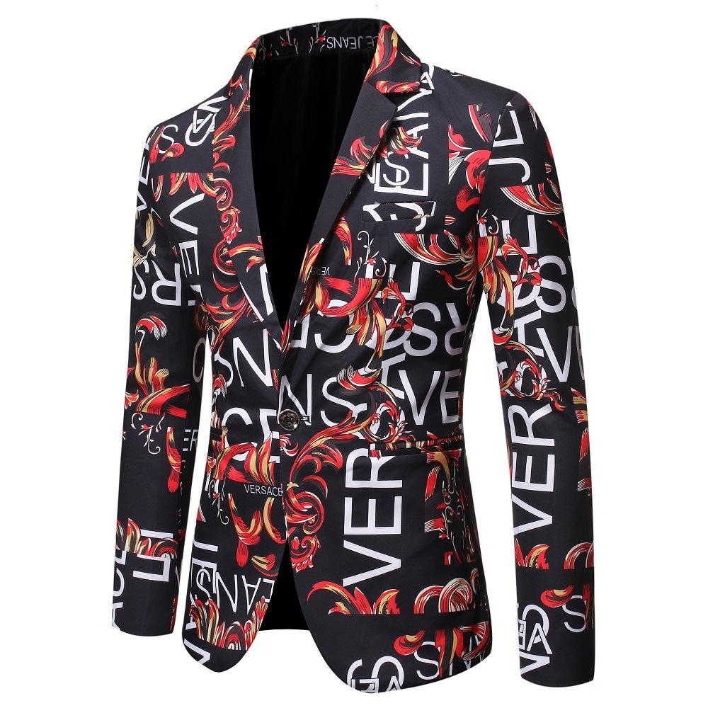 Autumn New Style Men Europe And America Printed Letter Slim Fit Suit Single Suit Formal Dress Stage Performance Flower Suit