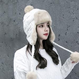 Image 3 - Frauen Trapper Hüte Winter Warm Faux Fox Pelz Bomber Hut Beanies Russische Uschanka Wolle Stricken Pom Pom Ohrenklappen Aviator Caps