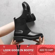2019 mujeres calcetines botas otoño e invierno nuevas botas impermeables cuero Mujer estiramiento Delgado botas salvaje Botin Mujer tamaño grande