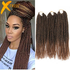 X-TRESS Hair-Extensions Braiding Crochet Senegalese Twist Color Synthetic Ombre Brown