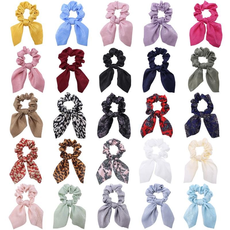 Fashion Satin Scrunchies Fabric Hair Rope Hair Band Bowknot Horsetail Elastic Headband For Women Hair Accessories Hot Sale(China)