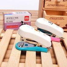Deli Kawaii Random Color Portable Mini Stapler Set with 640pcs Staples Stationery Office Binding Tool School Binder Teacher