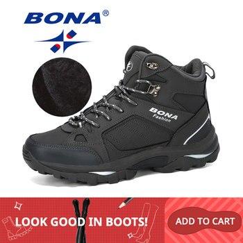 BONA Мужские ботинки анти-скольжения кожаной обуви Для мужчин популярные удобные Демисезонный Мужская обувь короткие плюшевые ботильоны на ...