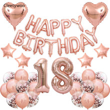 40 pçs feliz aniversário balão rosa ouro número da folha balões confetes látex balão para 18 30 40 50 60 festa de aniversário decoração