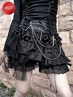 summer 2020 Lolita Rock punk multi layer lace pant skirt Dark Ribbon Summer Winter Japanese gothic black mesh mini skirt