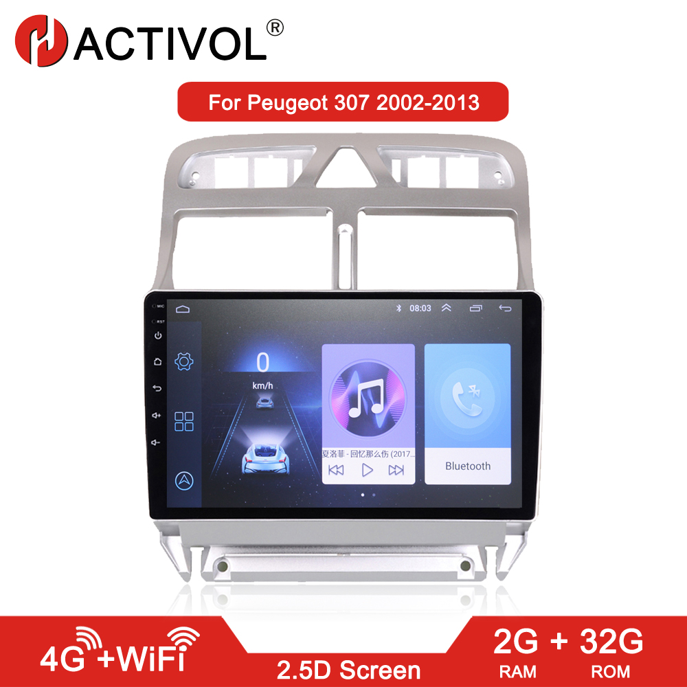HACTIVOL 2G+32G Android 9.1 <font><b>Car</b></font> <font><b>radio</b></font> stereo for <font><b>Peugeot</b></font> <font><b>307</b></font> 2002-2013 <font><b>car</b></font> dvd player gps navi <font><b>car</b></font> accessories 4G internet image