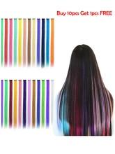 Coolhair зажим в один радуга волосы кусок волосы наращивание прямые омбре розовый синий фиолетовый синтетический накладные поддельные волосы
