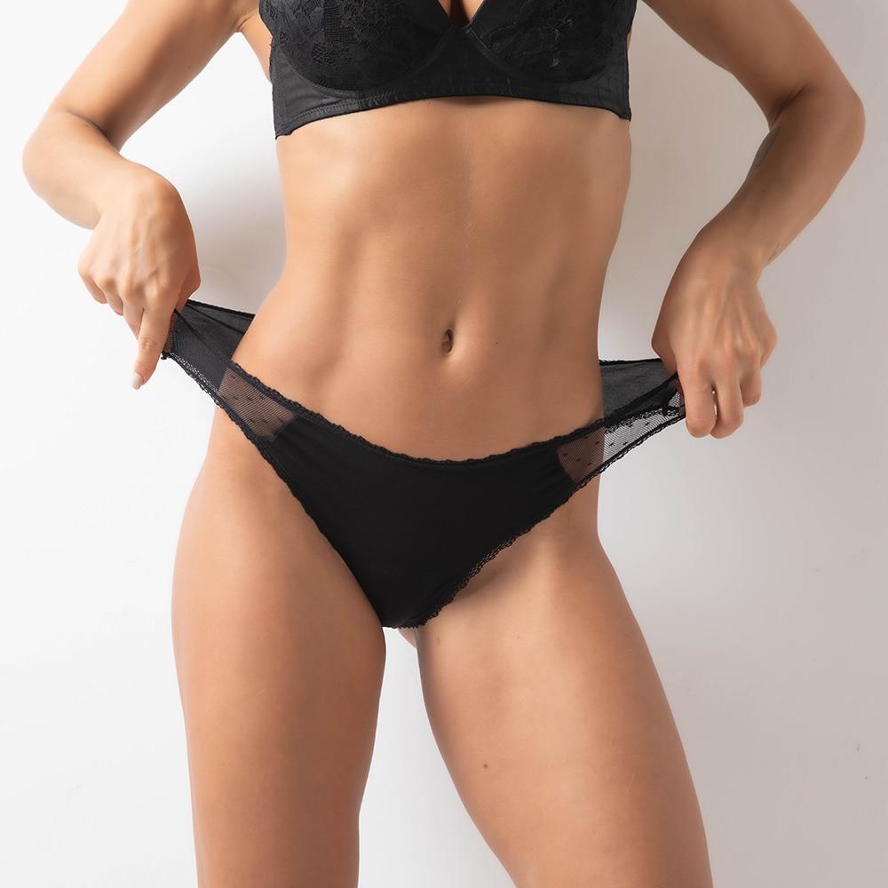 3 шт. сексуальное кружевное черное герметичные Для женщин менструальная чаша дышащие трусики-стринги быстро впитывающий Высокая Талия деву...