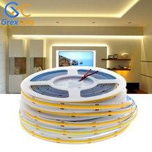 COB LED Strip Light 320 384 528 LEDs High Density FOB COB Flexible LED Lights Ra90 3000K 4000K 6000K LED Tape DC12V 24V 5m/lot