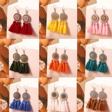Bohemian Sun Flower Tassel Earrings For Women Handmade Weave Cotton Fabric Long Drop Earring Boho Colorful Ethnic Jewelry Female