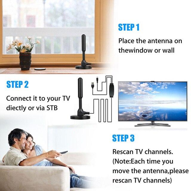 Wewnętrzna cyfrowa antena telewizyjna HDTV 25DB antena wzmocniona 200 mil zasięg VHF UHF antena HDTV odbiornik sygnału TV HD wzmacniacz sygnału