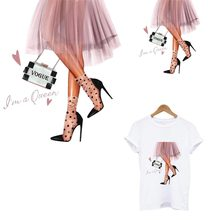Vogue Girl Patches For Clothes Pink Dress Iron-on Transfers Sticker DIY A-level Washable Thermal Patches Decoration Accessory