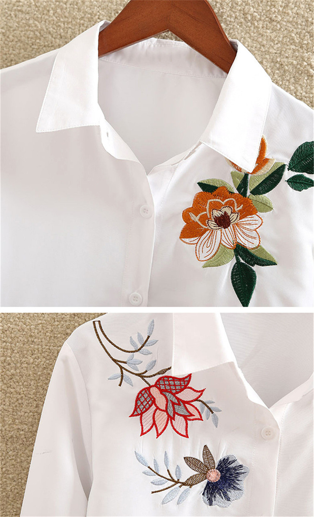 Floral Embroidery White Shirt Blouse  2020 Spring Casual TopTurn Down Collar Long Sleeve Cotton Women's Blouse Feminina 1518 (3)