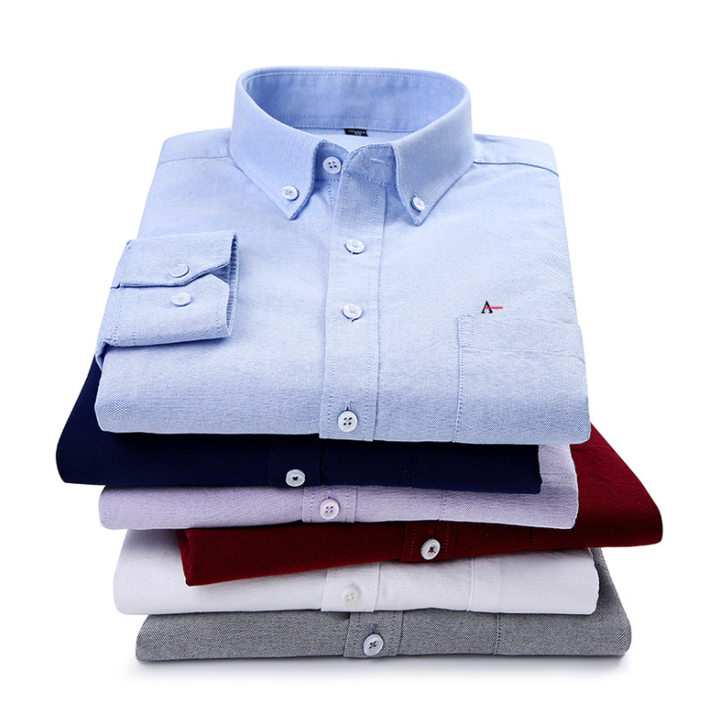 2019 Top Quality Aramy Men Shirt Oxford Long Sleeve Cotton Social Stripe Plaid Shirt