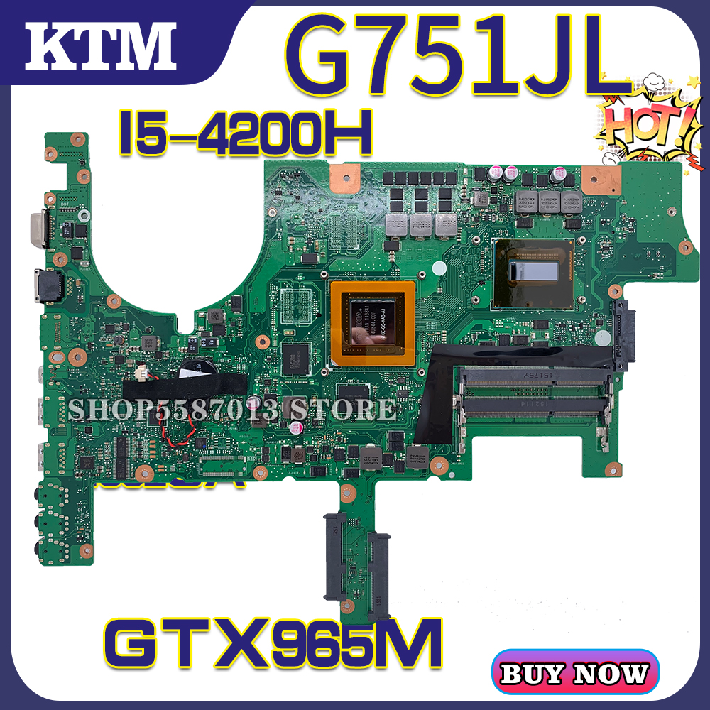 for ASUS G751J <font><b>G751JY</b></font> G751JT G751LJ G751 laptop <font><b>motherboard</b></font> mainboard test OK I5-4200H cpu GTX965M image