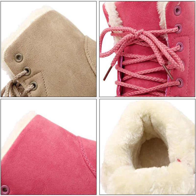 Yeni eklemek kalın pamuklu kadın kar botları düz dantel kadar kış platformu bayanlar sıcak ayakkabı akın kürk kadın süet yarım çizmeler kadın